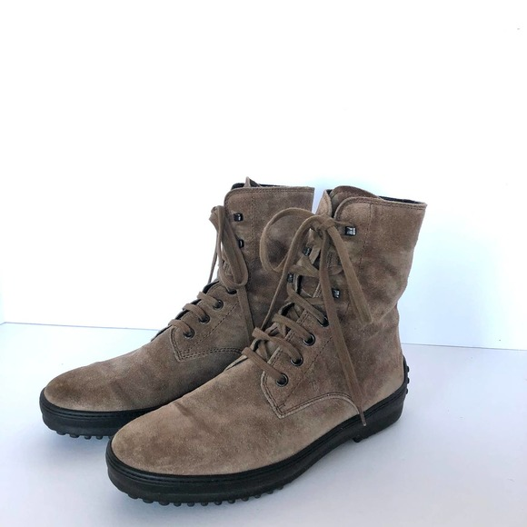 Tods Winter Gommino Suede Lace Up Ankle Boots